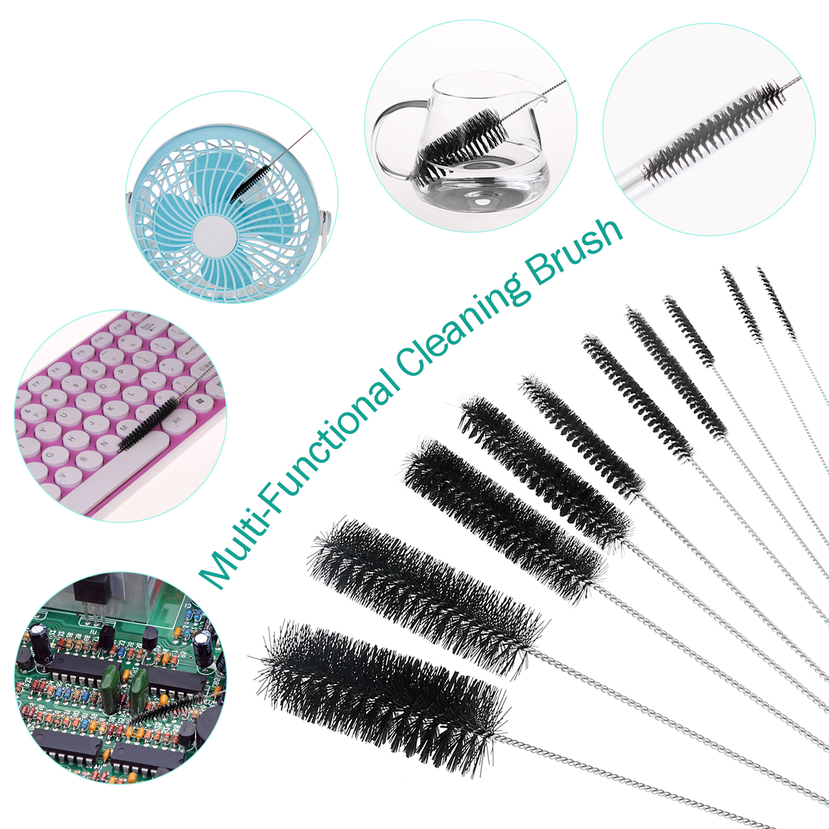 10pcs Nylon Tube Brushes Straw Set For Car Air Condition Drinking Straws / Glasses / Keyboards / Jewelry Cleaning Brushes Tool