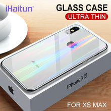 iHaitun Laser Glass Case For iPhone XS MAX XR X Cases Ultra Thin Transparent Back Glass Cover For iPhone X 10 XS MAX Soft Side(China)