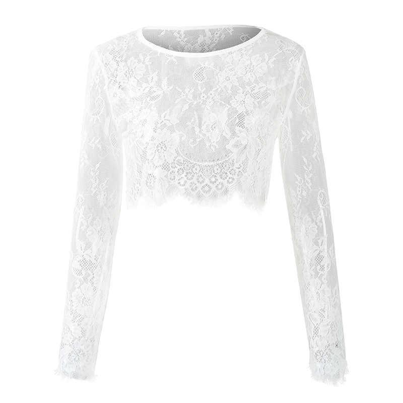 2da6196617c ... 2019 Spring Sexy See Through Blouses Women Sheer Floral Lace Blouse O-Neck  Long Sleeve ...