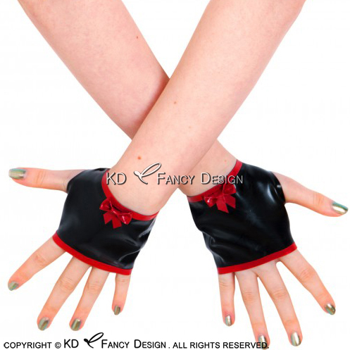 Black With Red Sexy Fingerless Short Latex Gloves With Bows And Stripes Rubber Mittens ST-0057