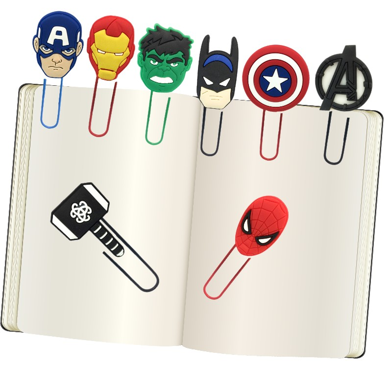 8pcs/lot Marvel Avenger Figures Cartoon Image Bookmarks In Books Paper Clips School Office Supplies Student Stationery Kid Gift