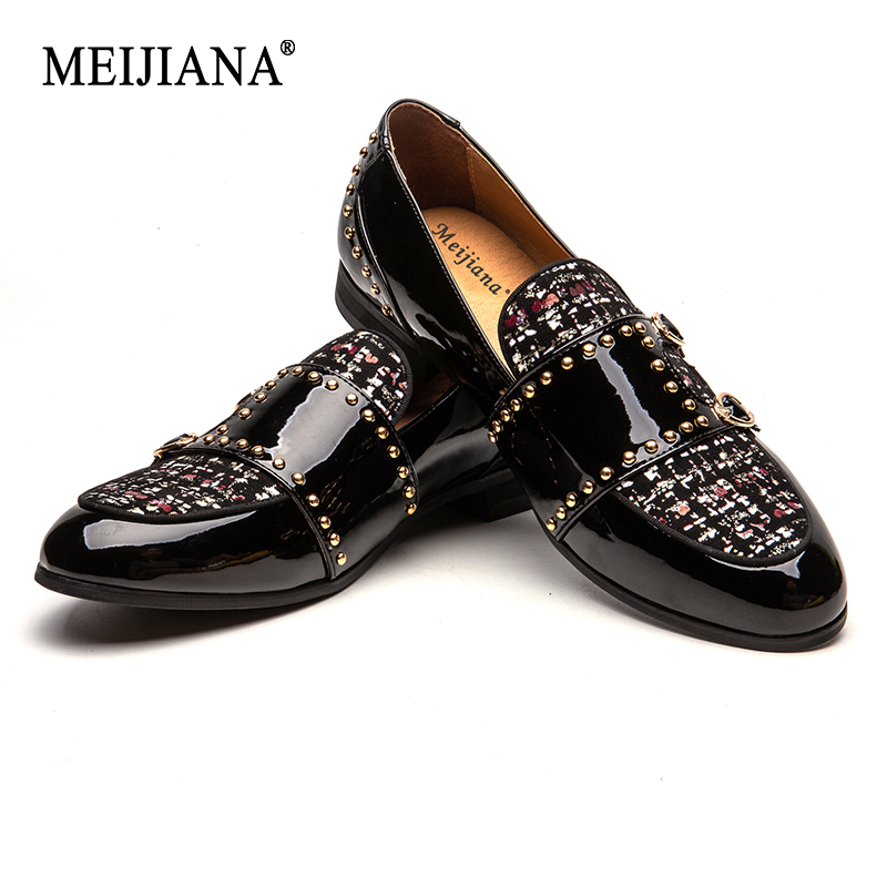 MEIJIANA Paint Belt Buckle Dinner shoes Plaid Pattern 2019 New Men s Loafers Brand Casual Shoes