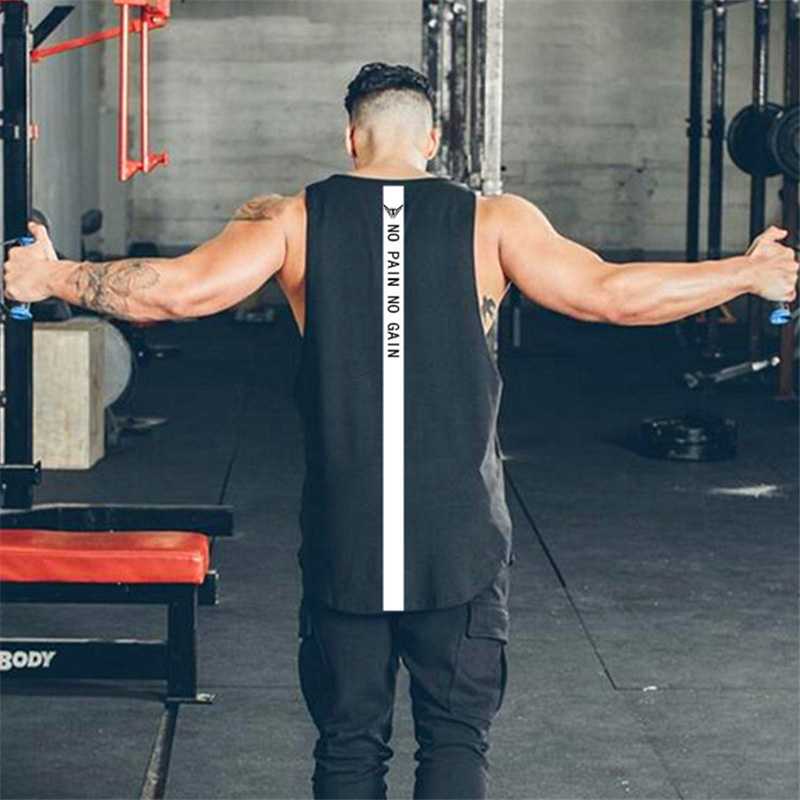New Muscleguys No Pain No Gain Bodybuilding Clothing Tank Top Men Fitness Singlets Sleeveless Shirt Solid Cotton Muscle Vest U in Tank Tops from Men 39 s Clothing