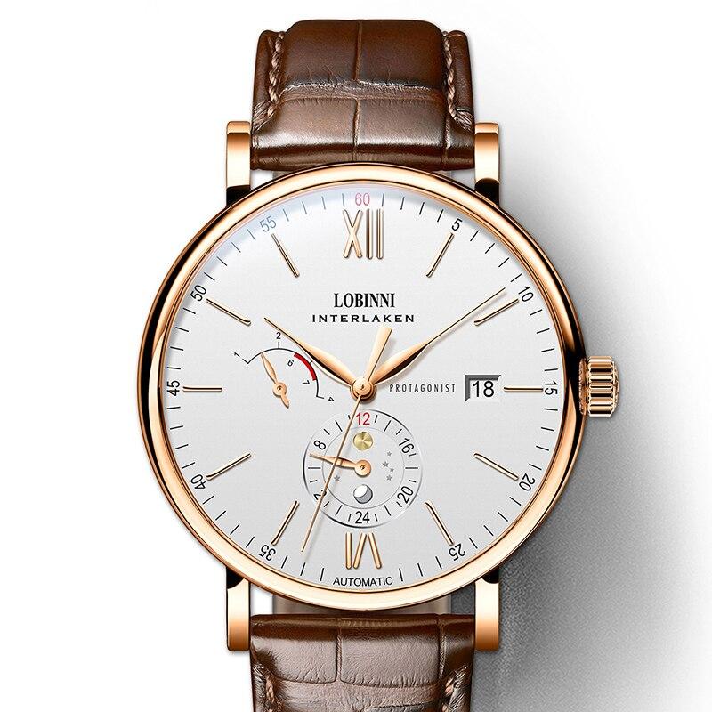Switzerland Luxury Brand LOBINNI Men Watches Japan Automatic Mechanical Men s Clock Sapphire Genuine Leather relogio