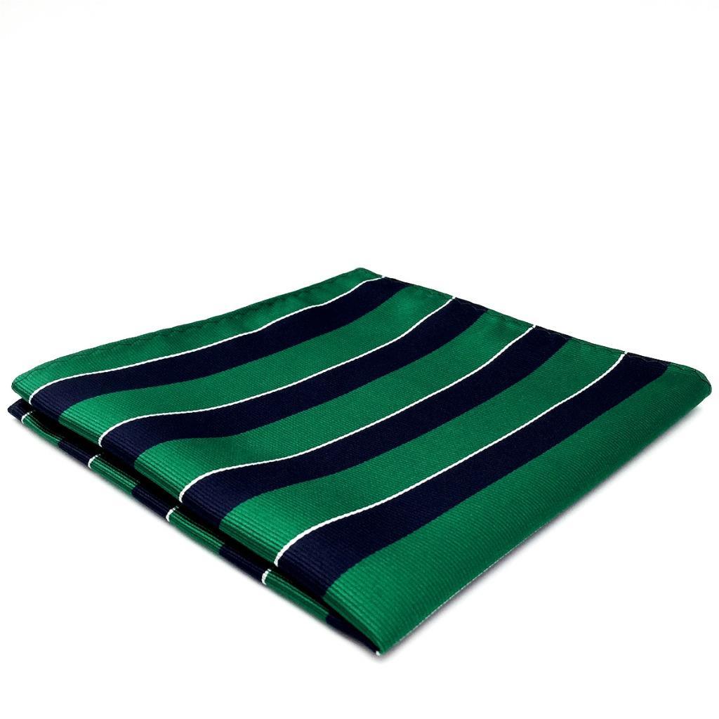 "YH27 Navy Green Striped Mens Pocket Square Classic Jacquard Woven Fashion 12.6"""