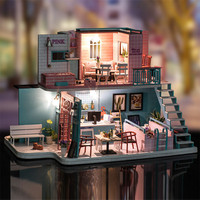 Assemble K 034 Pink Cafe House With Furniture Light Dust Cover Music Motor Children DIY Doll House Toys Friends Gift Dollhouse