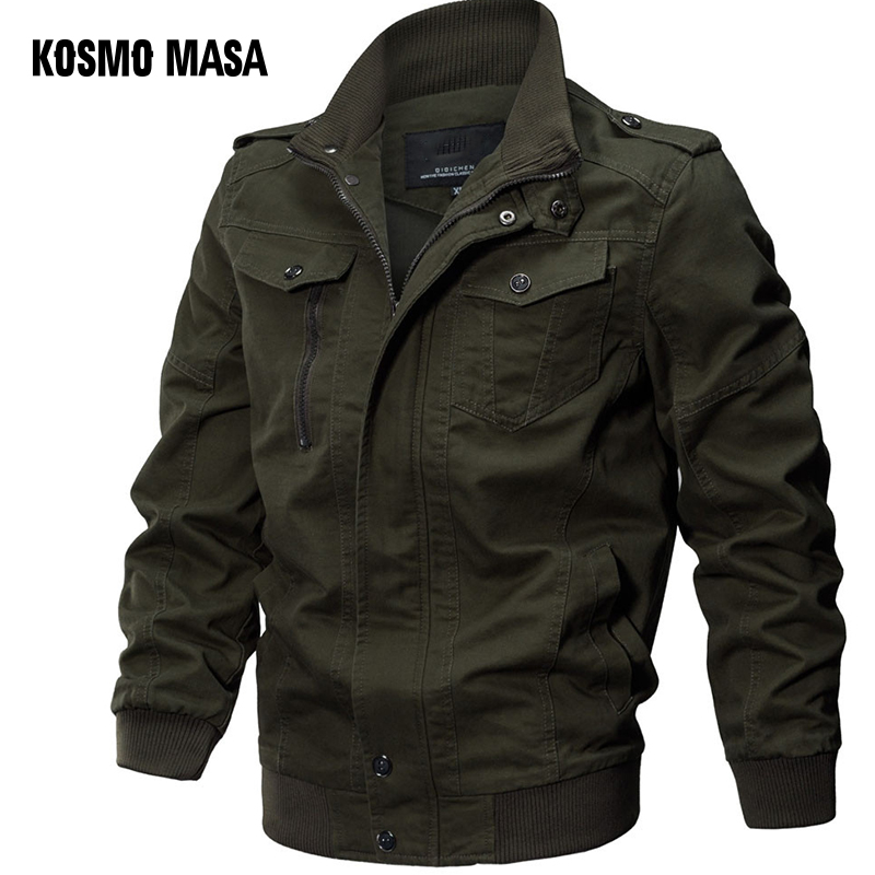 KOSMO MASA Bomber Jacket Men Autumn Winter 2018 Military Mens Jackets And Coats Black Windbreaker Jacket For Men Outwear MJ0074