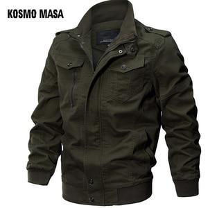 Image 1 - KOSMO MASA Bomber Jacket Men Autumn Winter 2018 Military Mens Jackets And Coats Black Windbreaker Jacket for Men Outwear MJ0074