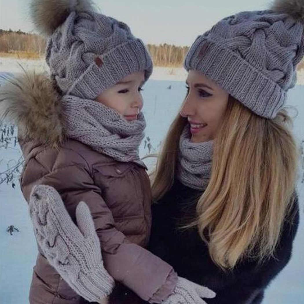 3a22db91 Winter Lovely Mom&Baby Boy Girls Knitted Hat With Pompom Caps Beanie ...