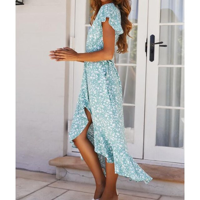 2019 Summer Women Print Dress V Neck Ruffle Maxi Dress Bohemian Casual Female Beach Boho Dress