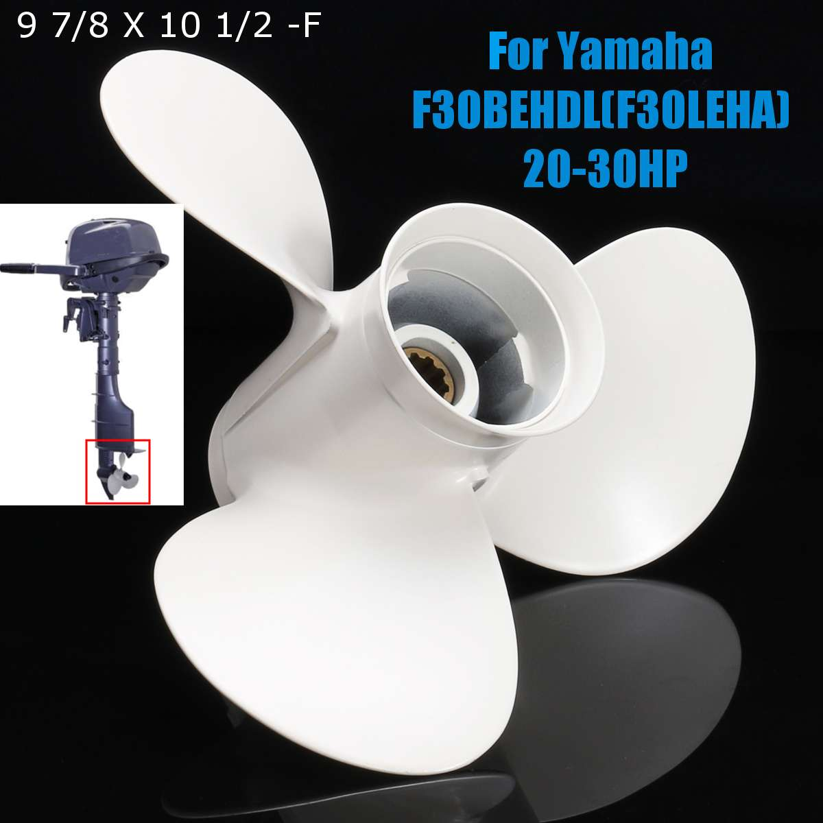 Boat Engine Propeller Aluminum 9 7/8x10 1/2-F for Yamaha 20HP 25HP 30HP Outboard Motors for Yamaha F30BEHDL(F30LEHA) 20-20HPBoat Engine Propeller Aluminum 9 7/8x10 1/2-F for Yamaha 20HP 25HP 30HP Outboard Motors for Yamaha F30BEHDL(F30LEHA) 20-20HP