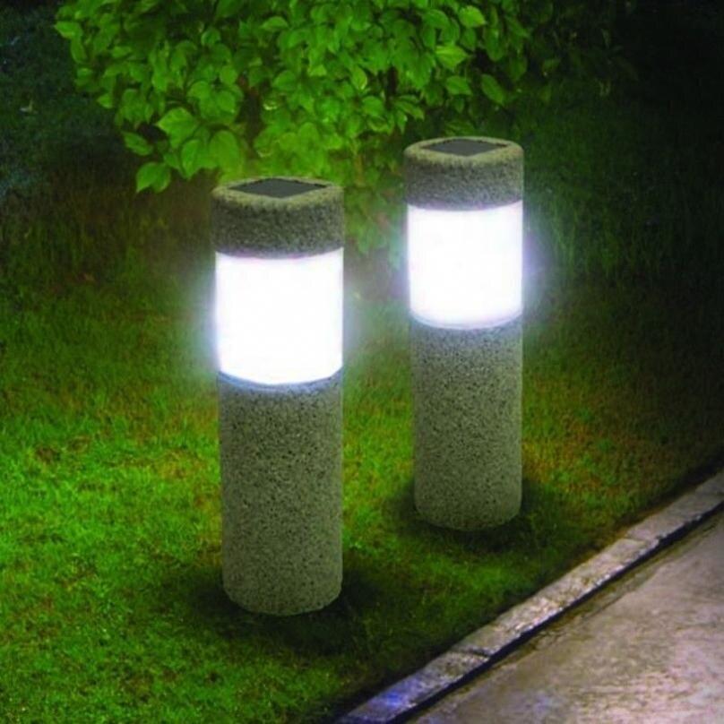 Solar Power Stone Pillar White LED Lights Garden Lawn Courtyard Decoration Lamp