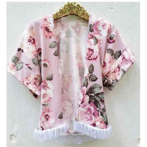 2019 для малышей Флора куртка пальто Дети кимоно для девочек кардиган Топы корректирующие Детская Верхняя одежда куртка рубашка Boho Пляж Cover Up