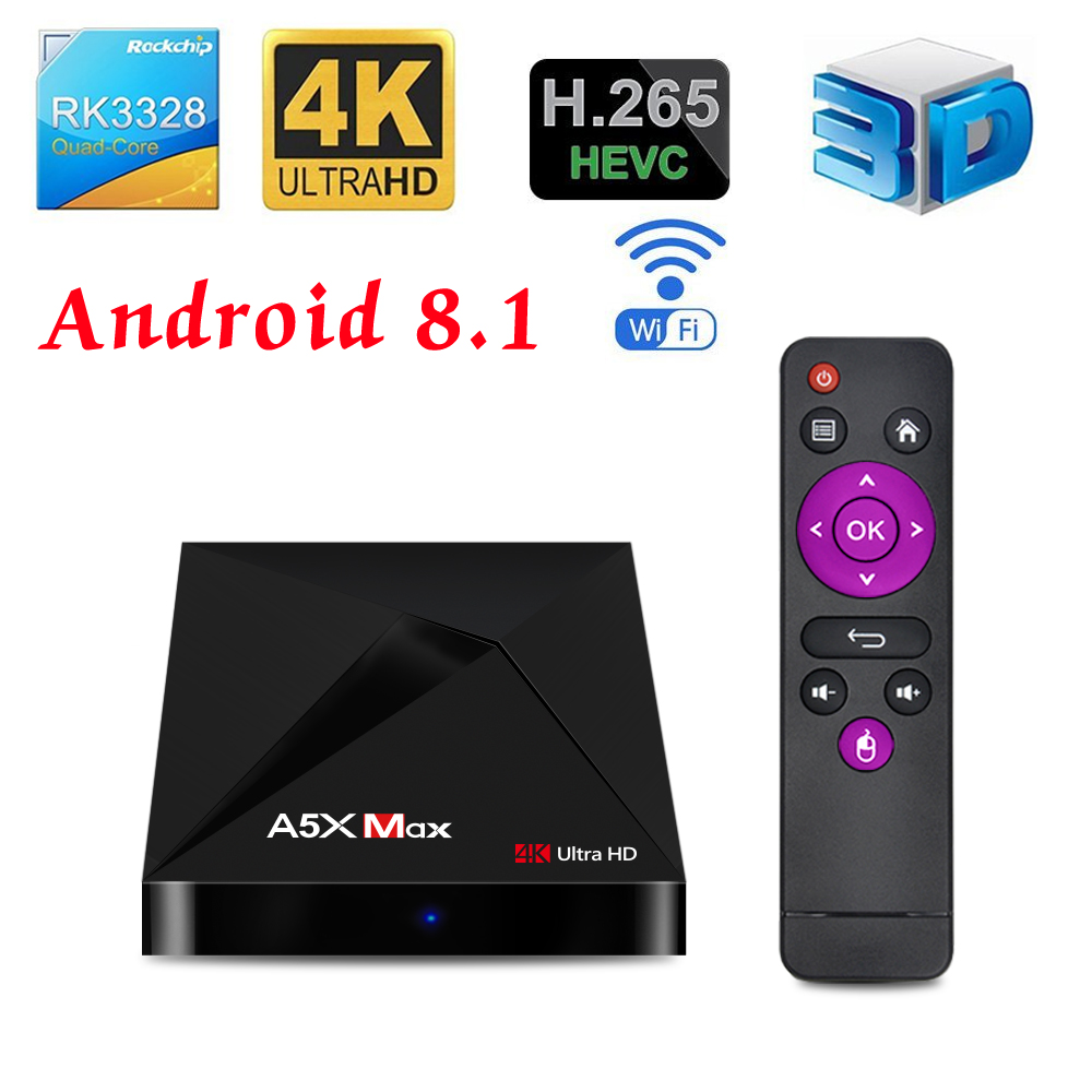 Boîtier TV Original Global Android TV 8.1 A5X Max boîtier TV RK33 Ultra HD 4G 32G Wifi TV décodeur lecteur multimédia