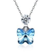 2018 New 925 Stering Silver Necklace Crystals From Swarovski Butterfly Pendant Necklaces For Beatiful Women Girls Jewelry