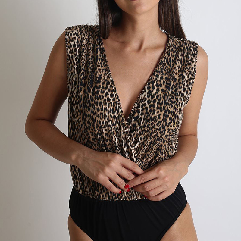 Sexy Leopard Bodysuit Woman Bodycon V-Neck Sexy Backless Bodysuits Sleeveless Patchwork Jumpsuits Romper One Piece Ladies Tops