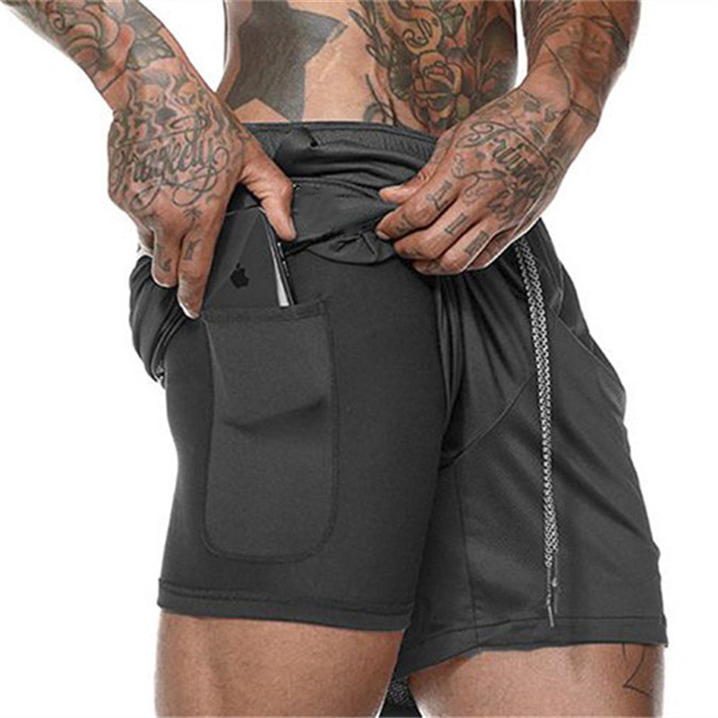 2 in 1 Mens Running Shorts Gym Training Sport Short Pants Cycling Shorts