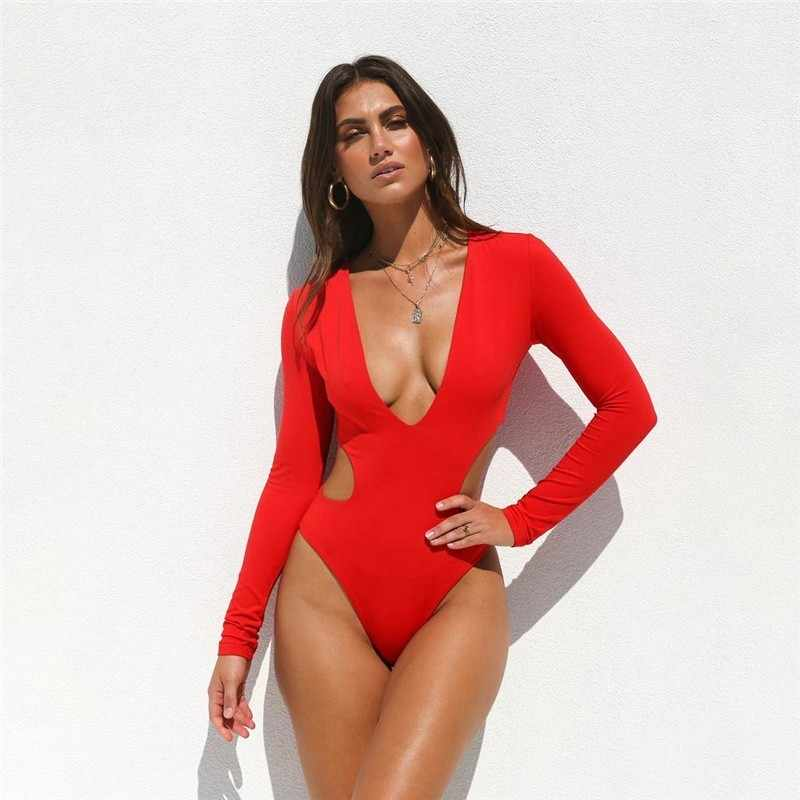 d3f1b1a2870 2019 Hollow transparent swimsuit push up bathing suit sexy solid bodysuit  one-pieces extreme bikini