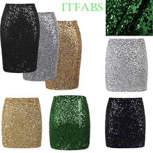 Womens Gold Silver Black Sequined Mini Skirts Bodycon Pencil Skirt Short Wrap Skirt for Office Lady Party Girl Plus Size XL(China)