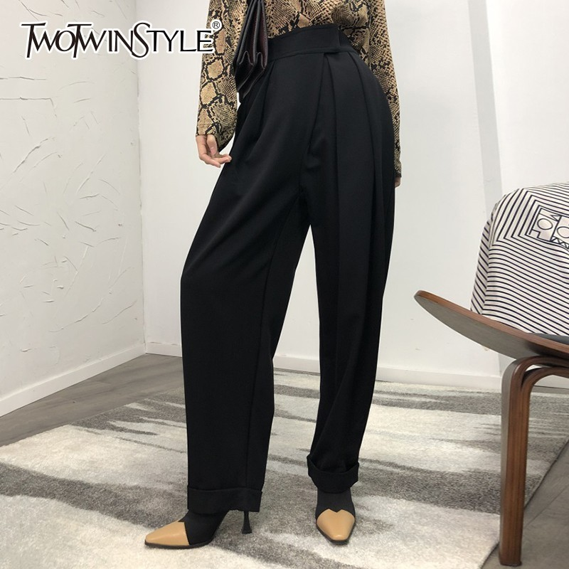 TWOTWINSTYLE Casual Black Harem Trousers For Women High Waist Loose Wide Leg Pants Female 2019 Spring