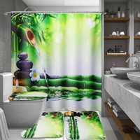 PEÇAS De Bambu Cortina de Chuveiro Do Banheiro À Prova D' Água E 3 1 PCS Tampa Mat Non-Slip Tapete Higiênico Conjunto