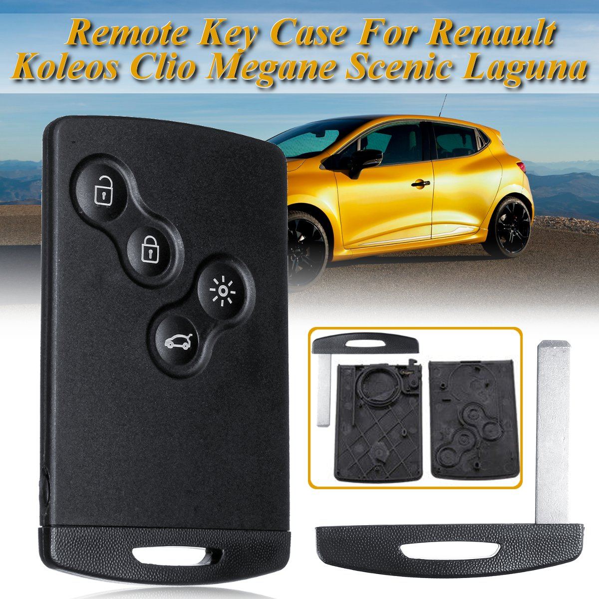 HERCHR 3 Buttons Remote Control Key Fob with ID46 Chip 433MHz Fit For Renault Megane