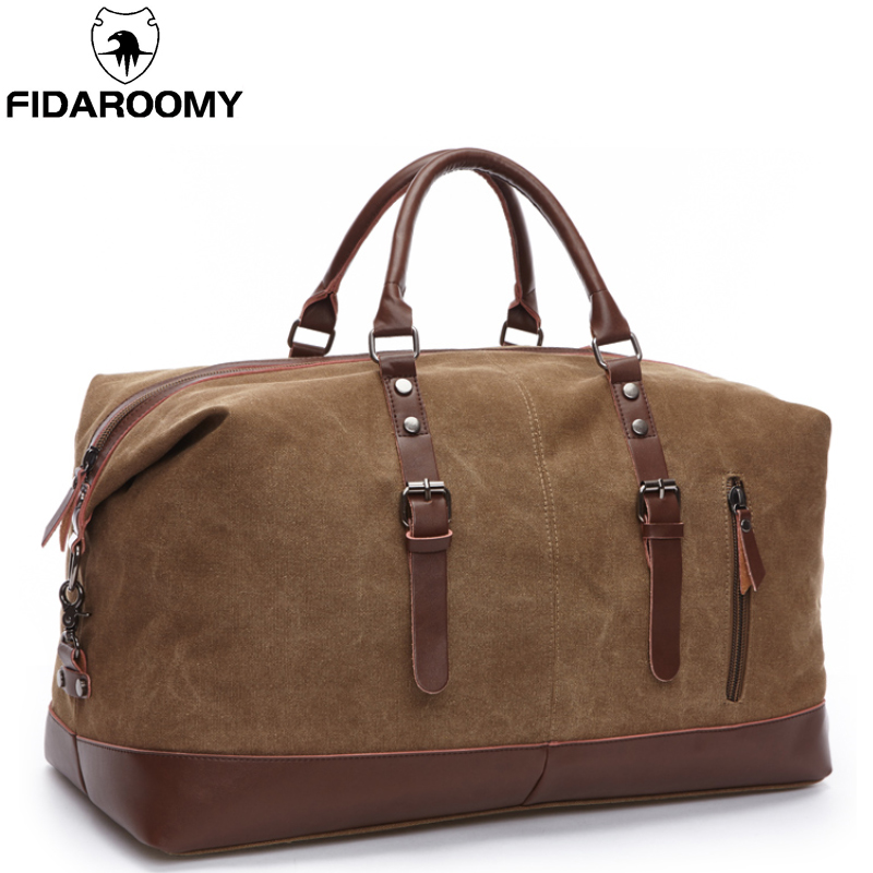 Canvas Men Travel Bags Large Capacity Leather Luggage Duffle Bags Travel Duffel Handbag Folding Trip Bag
