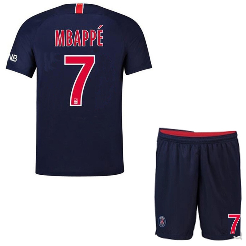 reputable site 7f08c d08d0 #7 MBAPPE PSG Home Soccer Jersey 2018-2019 Season Kids Blue Psg Soccer  Jersey 2019 High Quality Set