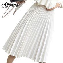 2019 Spring Women Elegant Pleated Skirt High Waist White Long Female Ladies Quality Midi Black