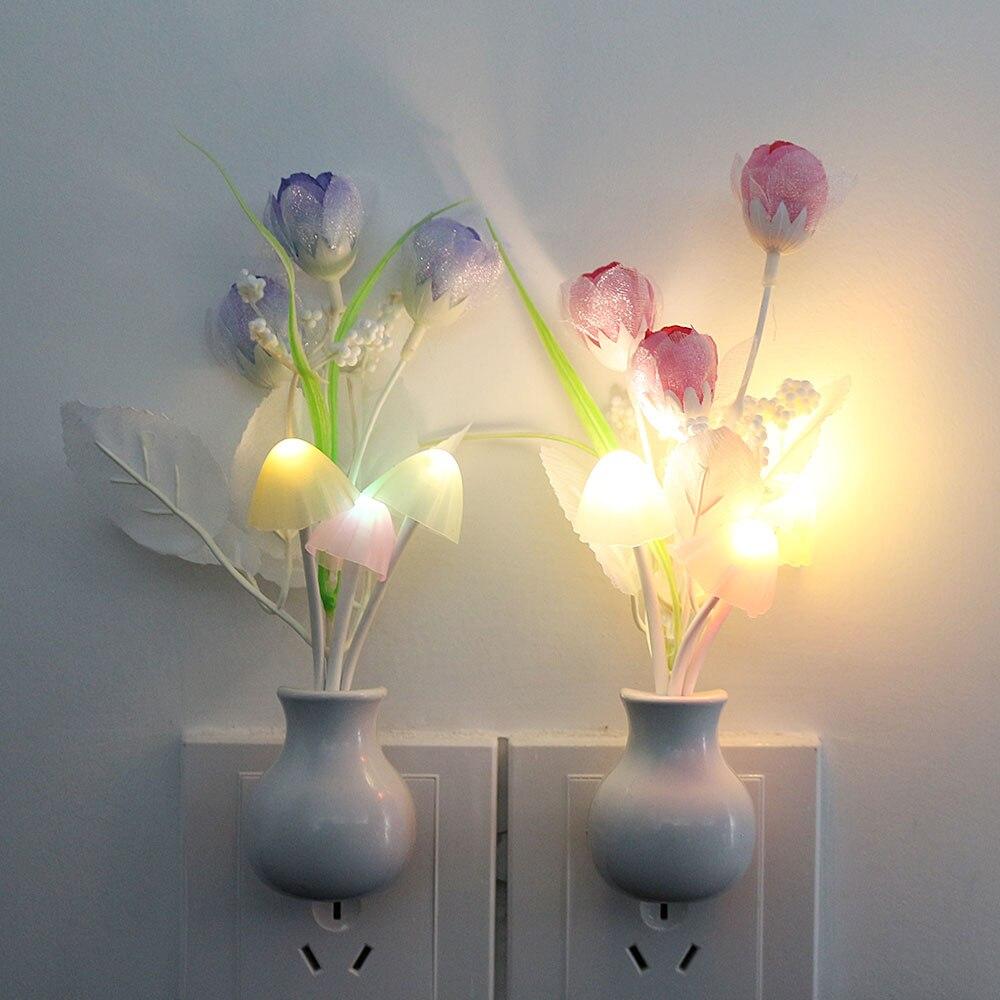 LED Novelty Light Mushroom Tulip Flower Light Sensor Night Lamp Home Decoration Romantic Baby Bedroom Foyer