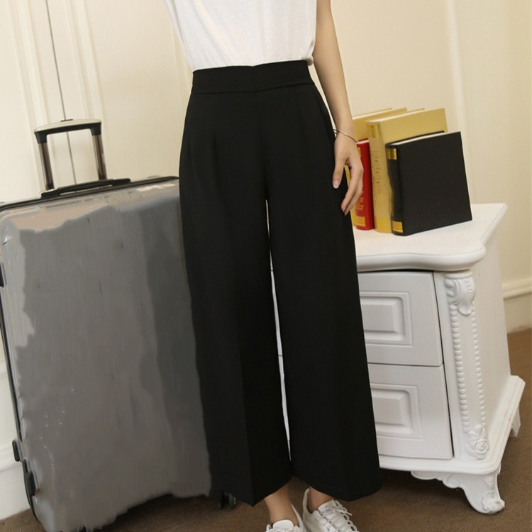 New Arrival Female Casual Black Wide Leg   Pants   Solid Spring Summer High Waist Simple Loose   Pants