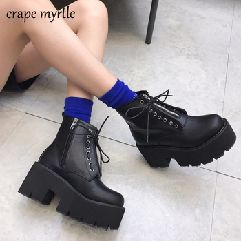 цена на punk boots bottes femmes platform shoes High Heels women ankle boots winter Autumn shoes motorcycle boots women fashion  YMA530