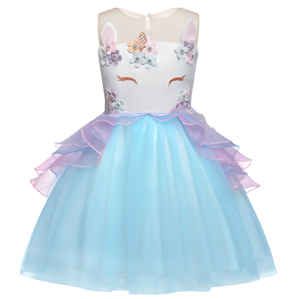 AmzBarley Girls Unicorn Tutu Dress Ruffle Tulle Dress Baby Kids Birthday Outfit Princess Party Costume 2 14Years in Dresses from Mother Kids