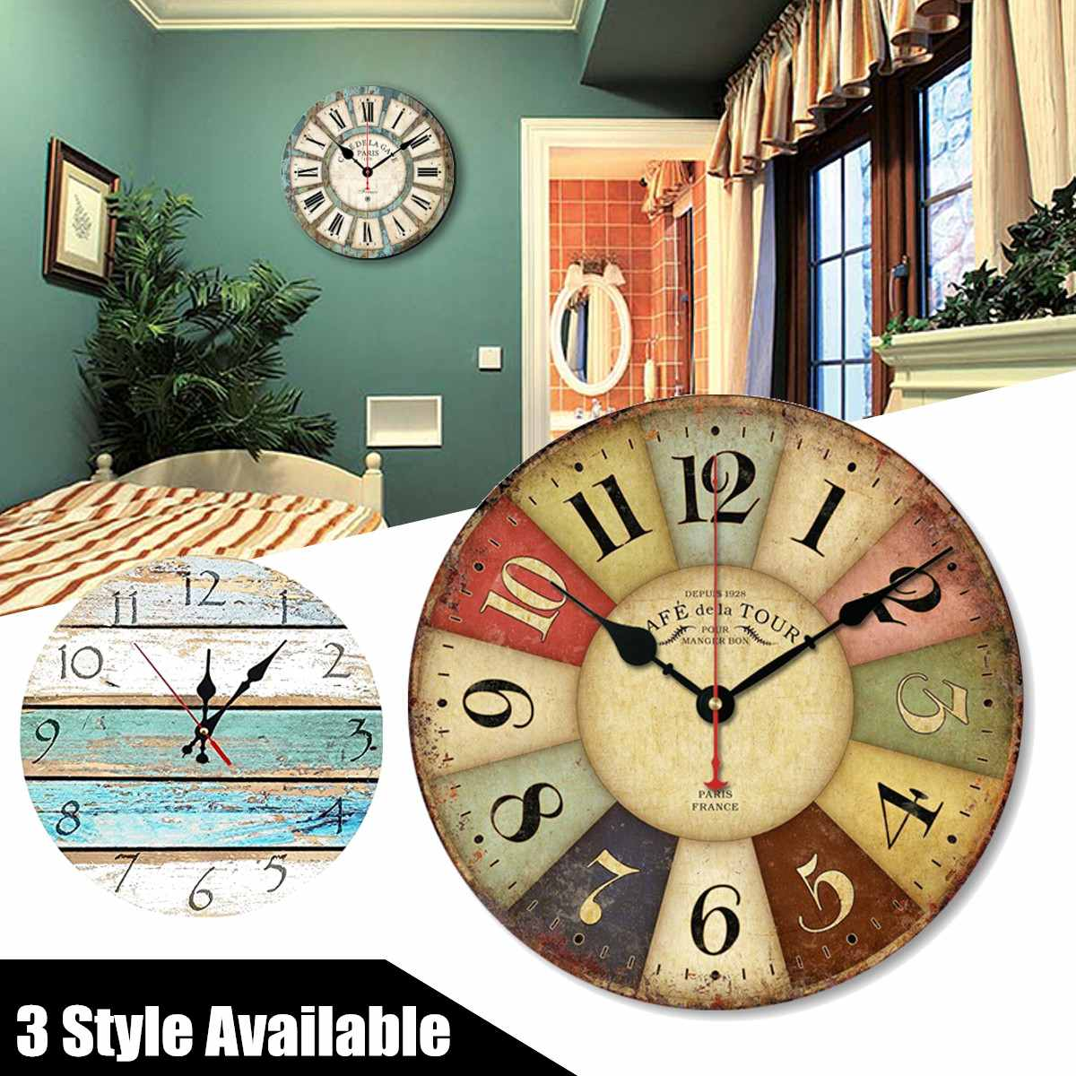 12 Inch DIY Vintage Round Wall Hanging Clock Battery Powered Home Living Room Modern Watch Decoration Ornament