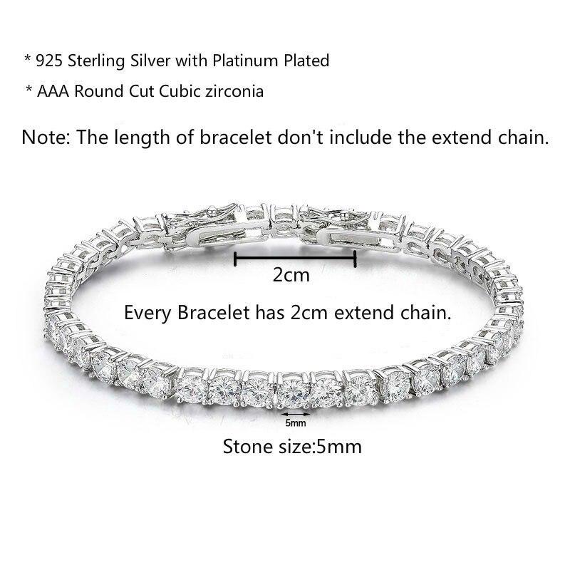 Image 3 - 5mm 16 20cm 925 Sterling Silver Round CZ Stone Tennis Bracelets  For Women Pulseras Pulseira Bracelete Jewelry Bileklik BraccialiChain