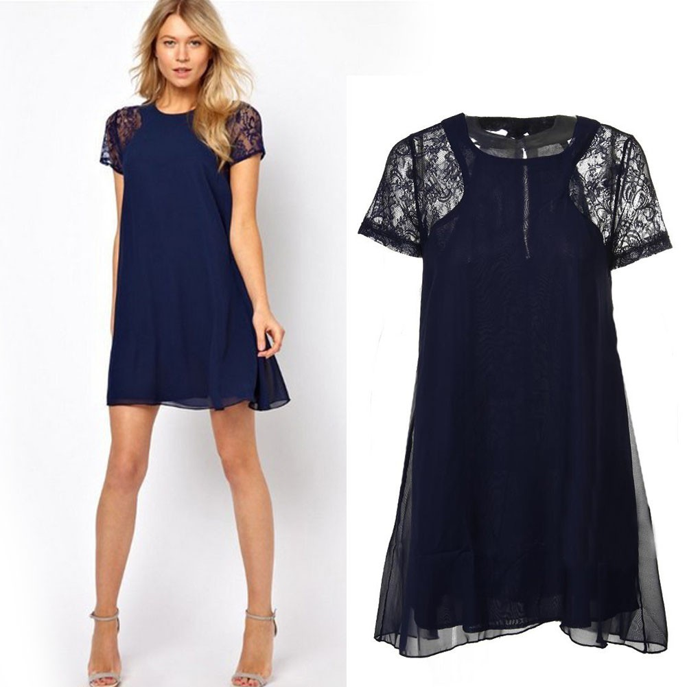 Women Swing Lace Sexy Short Sleeve One-Piece Shirt Dress Navy Size good quality Women Dress for girl gift image