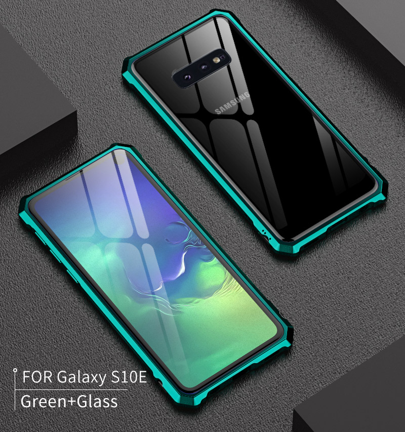 For Samsung S 10 S10 Case S10Plus Bumper Metal Aluminum Frame Cover with Glass Back Cover