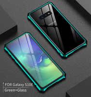 Pour Samsung S 10 S10 étui S10Plus pare-chocs métal aluminium cadre couvercle avec verre couverture arrière étui pour Samsung Galaxy S10 Plus S10E