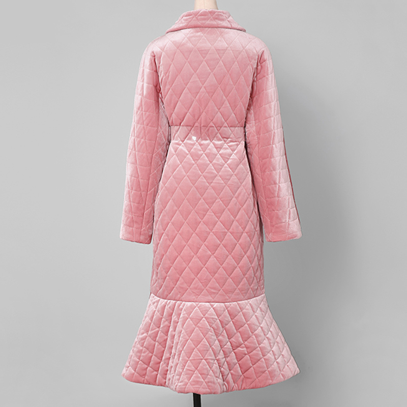 À Femme De Velours Taille Longues Transparent Col eam Turn Printemps Haute Poisson Ceintures down 2019 Queue Color Le262 Manches Pink Manteau Longue TxEZ7