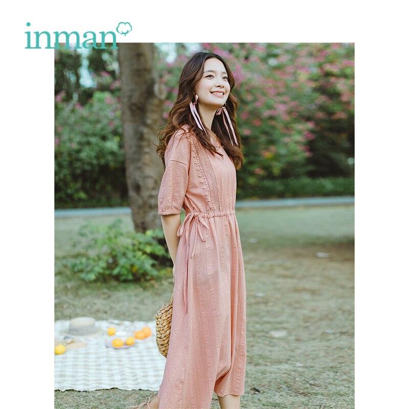 INMAN Summer O-neck Literary Retro Defined Waist Slim Loose A-line Women Dress