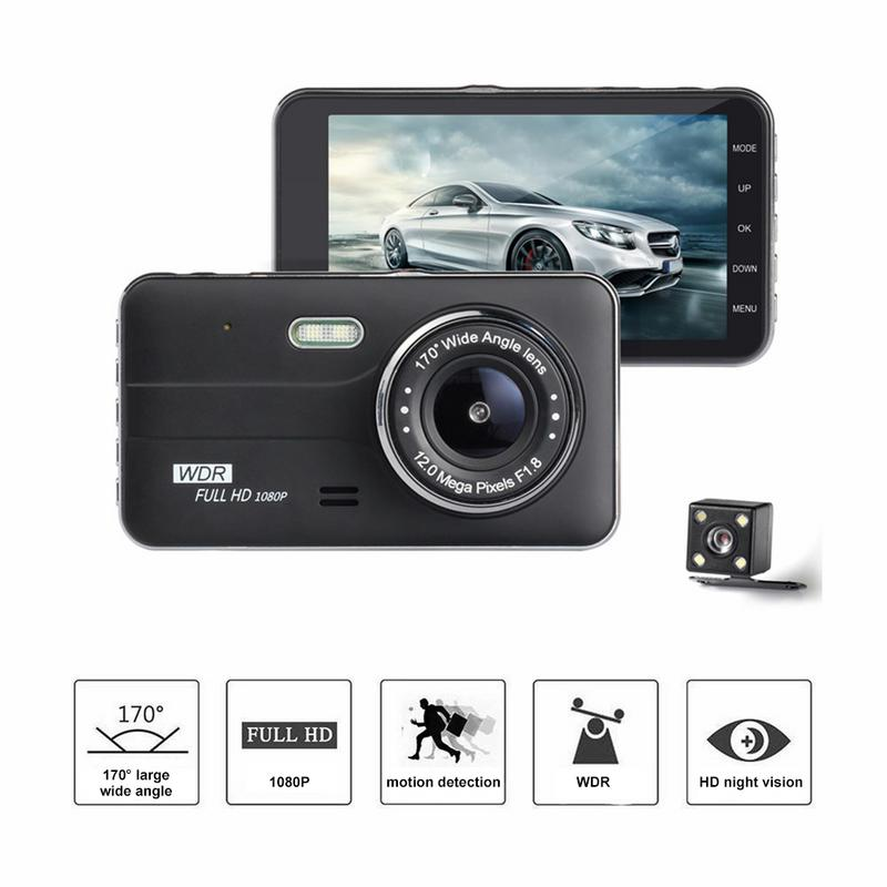 Car DVR Driving-Recorder Camera-Support-Reversing Dash-Cam Dual-Lens Hidden 4inch 1080P