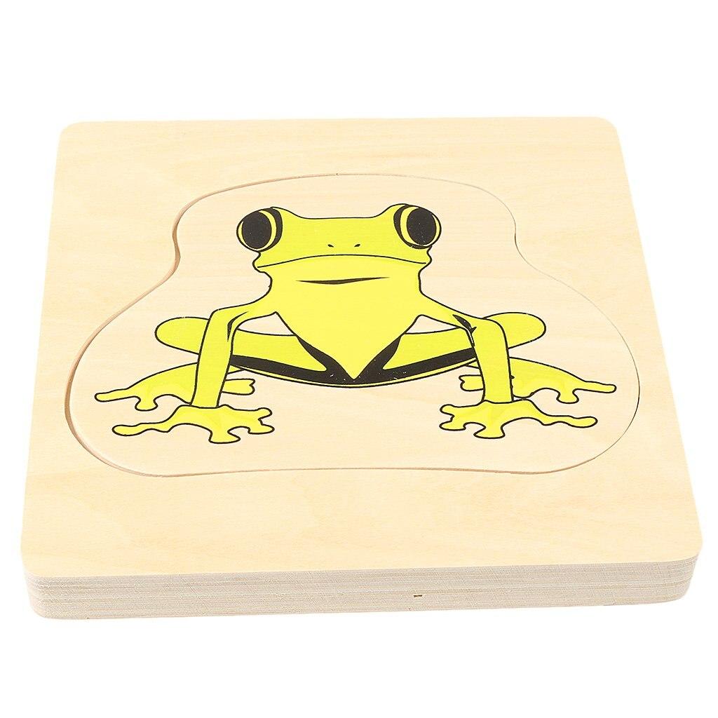 Montessori matériel en bois grenouille et papillon croissance Puzzle Parent-enfant Communication jeu de formation pour enfants enfants - 4