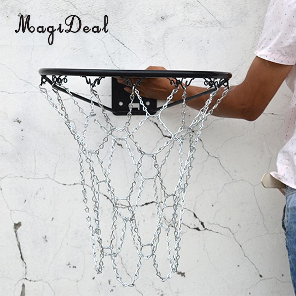 MagiDeal Heavy Duty Metal Chain Link Basketball Net For Standard Indoor Or Outdoor Team Sports Basketball Hoop Rim Silver