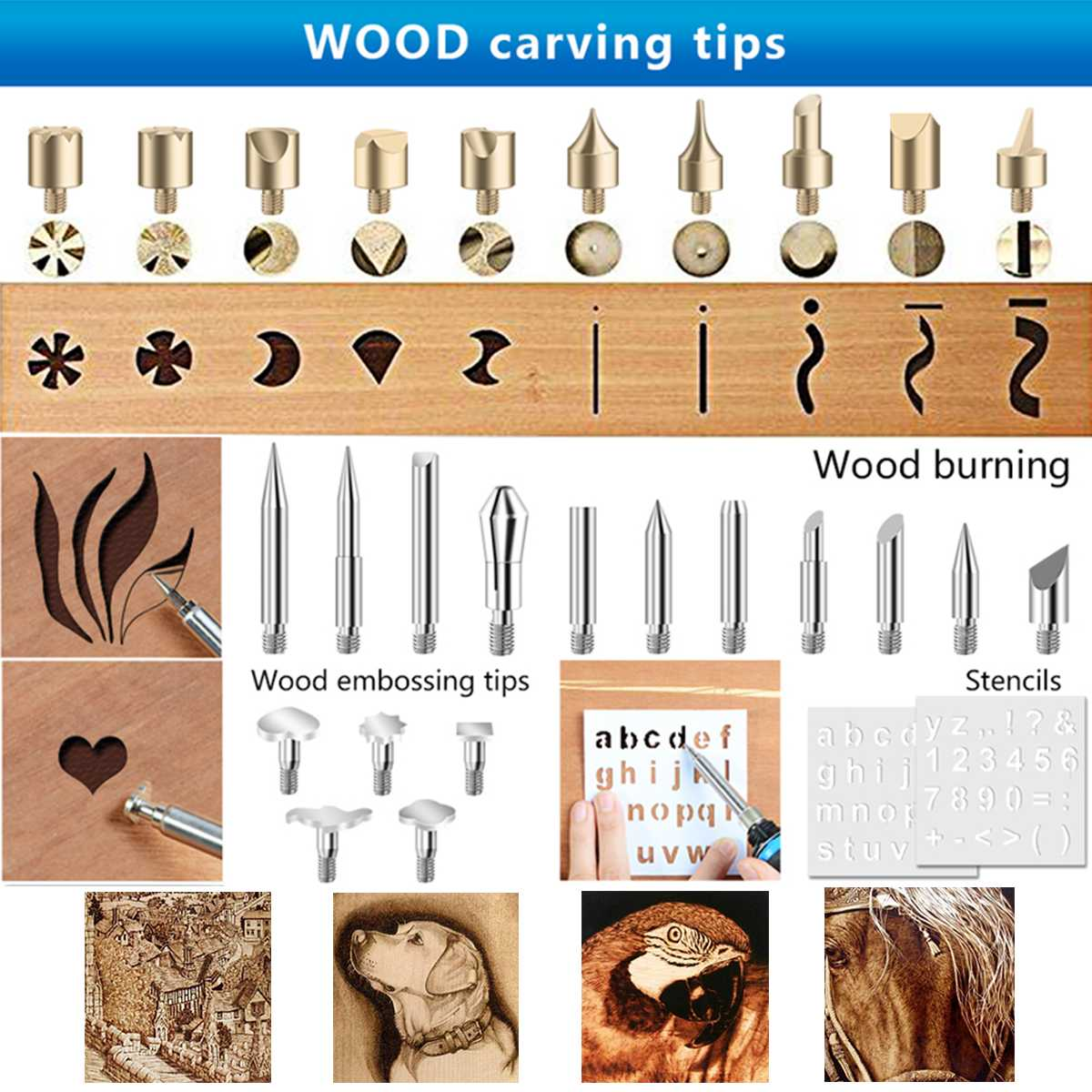 Image 3 - 62Pcs 60W 110V/220V Electric Soldering Iron Wood Burning Pen Tip Kit Pyrography Craft Tool US/EU Plug 6 Stencil Set Woodworking-in Electric Soldering Irons from Tools