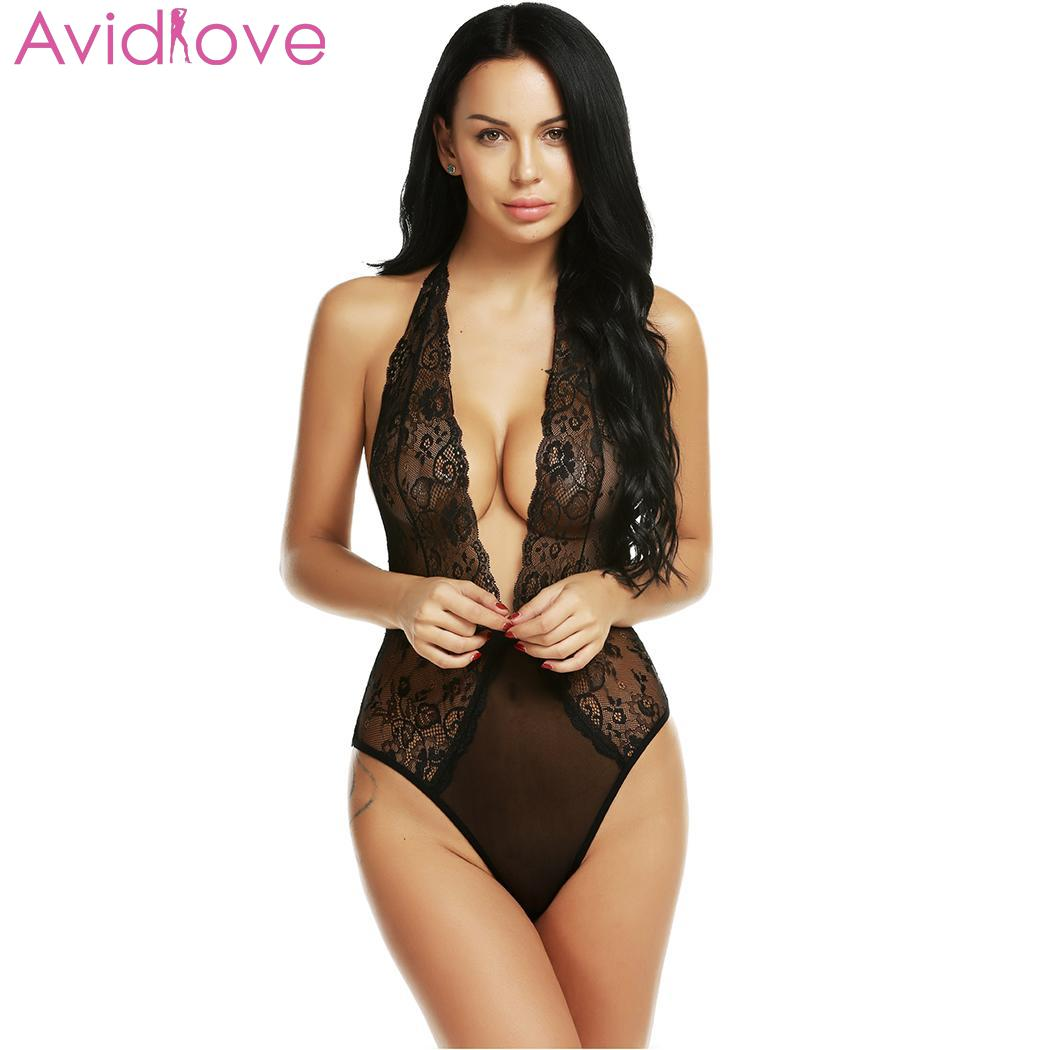 Avidlove See Through Lace Hip Erotic Sleeveless Mesh babydoll Nightwear Sexy Women Bodysuits Length Floral Summer Open V Neck|Teddies & Bodysuits| | - AliExpress