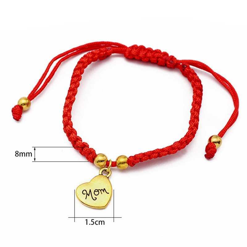 I Love You Mom Red Thread Bracelets Lucky Jewelry For Mum Charm Bracelets Mother's Day Gift Family Bless Bracelete Feminino 2018