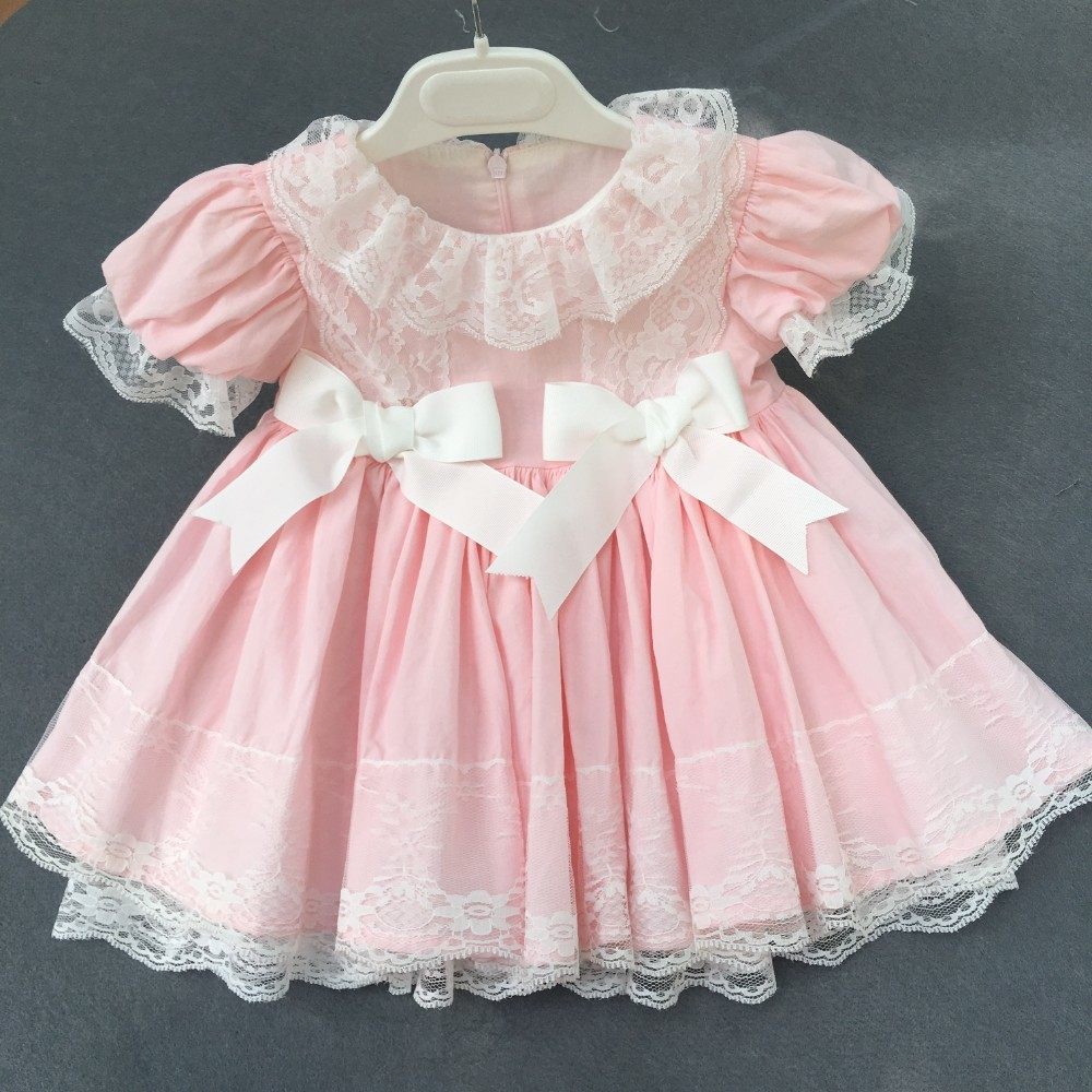 girls vintage dress pink ruffles lace bow party baby frock for kids dresses for girls clothing