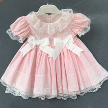 girls vintage dress pink ruffles lace bow party baby frock for kids dresses for girls clothing birthday cotton children wedding