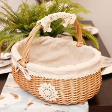 Плетеная ротанговая Корзина Коробка корзины для хранения Корзина для пикника фрукты цветочные корзины с крышкой и ручкой и на белой ленте для кемпинга # CO