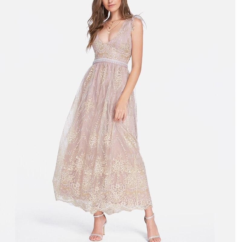 2019 женские платья с глубоким v-образным вырезом, с высокой талией, с открытой спиной, украшенные блестками, элегантные вечерние длинные макс...